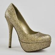 Gold Glitter Pumps