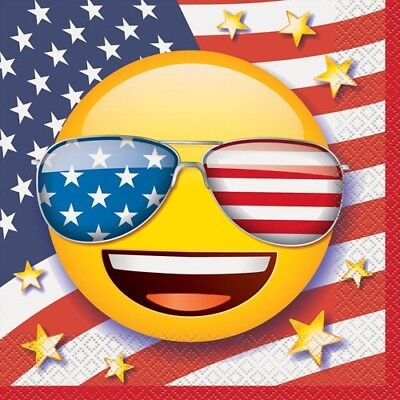 4TH OF JULY EMOJI LUNCH NAPKINS (16) ~ Party Supplies Fourth Lunch Dinner Large ()