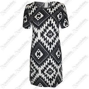 NEW LADIES WOMEN NEON AZTEC TRIBAL DRESS PRINT SHORT MINI TUNIC LOOK DRESSES TOP