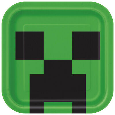MINECRAFT LARGE PAPER PLATES (8) ~ Birthday Party Supplies Dinner Luncheon Green (Minecraft Party Plates)