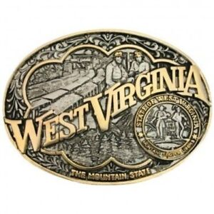 Montana Silversmiths West Virginia State Heritage Belt Buckle Gold One Size