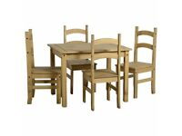 All New Solid Cheap Corona Mexican Pine Dining table an 4 chairs £145 available today