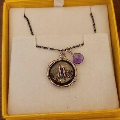 925 Pyrrha Initial M Talisman Pendant W Amethyst And Pyrrha 925 Chain - $95.00