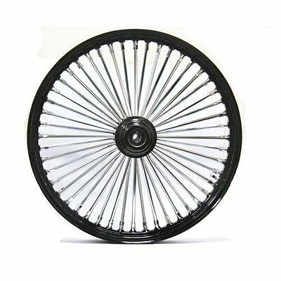 "Black/Chrome 48 King Spoke 21"" x 2.15"" Front Dual Disc Wheel for Harley & Custom"
