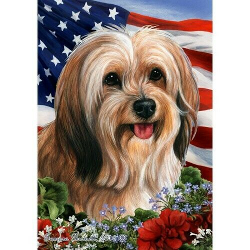 Patriotic (1) House Flag - Red Sable Tibetan Terrier 16480