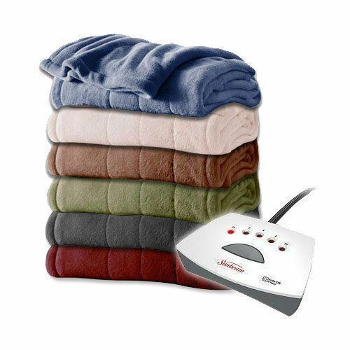 Sunbeam Electric Heated Plush Blanket Queen Size Mushroom With 2 ...