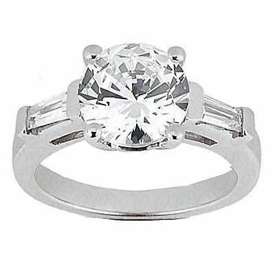 1.40 ct Round Diamond Platinum Ring w/ GIA cert G VS2 Triple Excellent w/ baguet