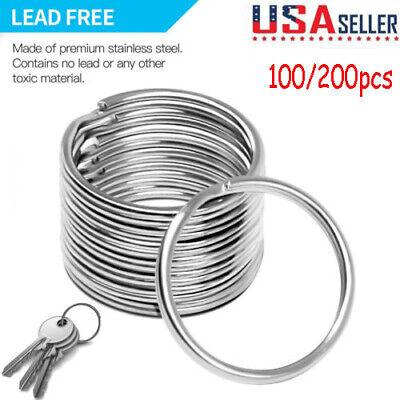Lots DIY Stainless Steel Silver 25mm Keychain Split Key Ring Loop Hoop Key Chain