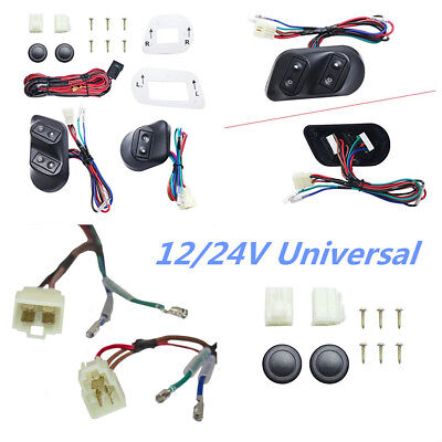 3Pcs Buttons Car Power Window Switches With Holder & Wire Harness For 2-Door Car