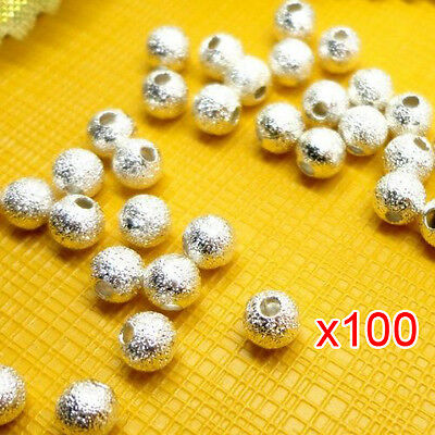 100pcs Spacer Beads Findings Stardust Silver Plated Base Round 4mm for Making N3