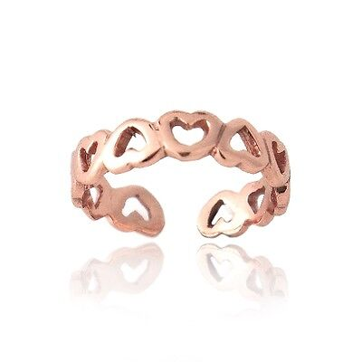 18K Rose Gold Over 925 Silver Filigree Open Hearts Toe Ring