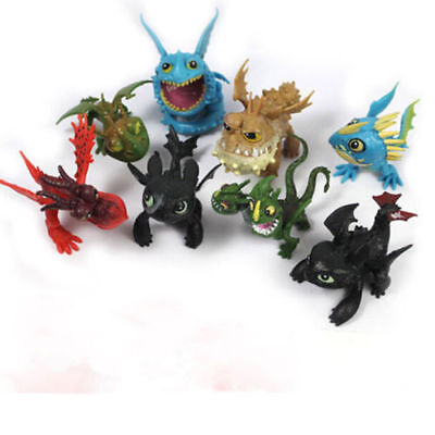 8PCS How to Train Your Dragon Action Figures Set: Toothless Night Fury Nadder (Toothless Nightfury)