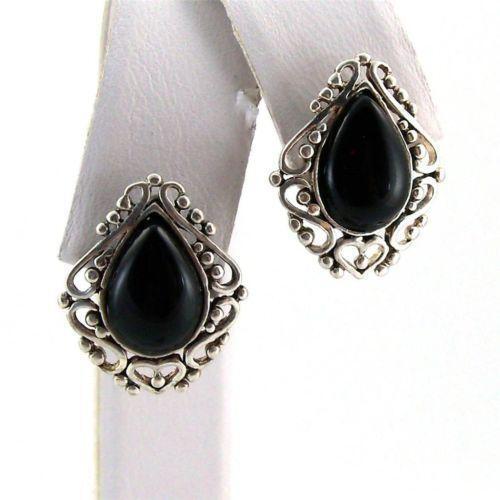 Vintage Black Onyx Earrings Ebay