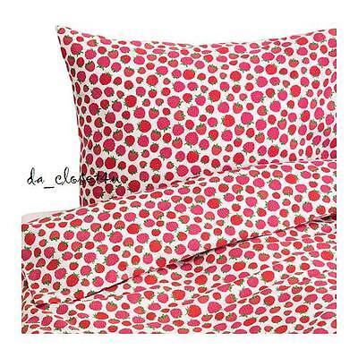 Pink Twin Duvet - IKEA Twin Duvet Cover set 100% Cotton Raspberries Pink White Summer Bedlinen NEW
