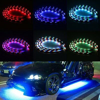 "7 Color LED Under Car Glow Underbody Remote System Neon Light Kit 2 x 24"" 2 x 36"