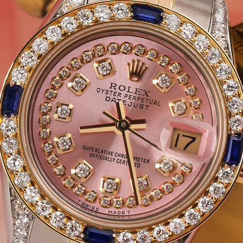 Rolex 26mm Datejust Metallic Pink String Vintage Dial With Sapphire & Diamond