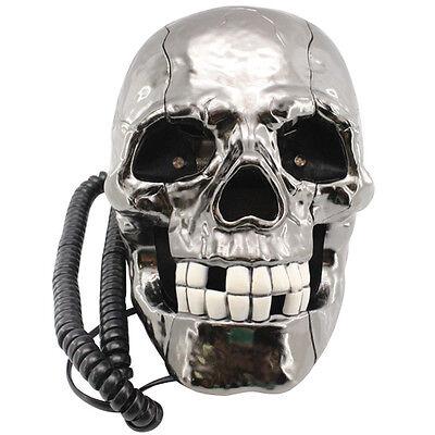 "Novelty ""Flashing LED Eyes"" Rustic Skull Corded / Wired Land Line Phone"