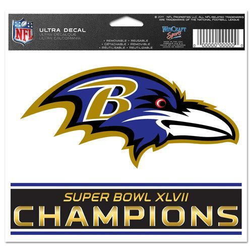 "NFL BALTIMORE RAVENS SUPER BOWL XLVII (47) ULTRA DECAL 4 1/2"" H X  5 1/8"" W"