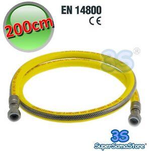 3s tubo flessibile 200 cm gas metano gpl cucina 1 2 femmina norma uni en 14800 ebay - Tubo gas cucina a norma ...