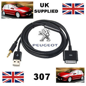 Peugeot 307 iPhone iPod 3.5mm USB & Aux Cable replacement