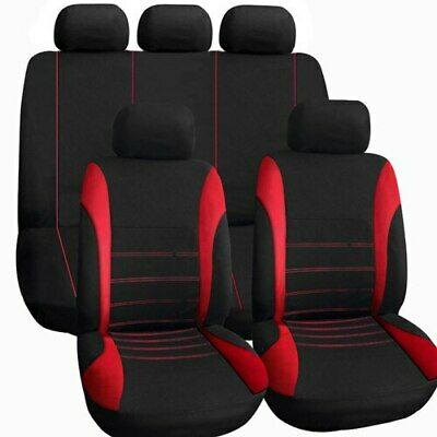 Red Car Seat Covers Full Set Universal 9Pc Protector Washable Pet Front Rear New