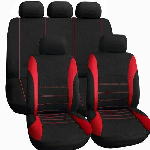 9Pcs Universal Car Seat Covers Set Deluxe Protectors Washable Front Rear Red