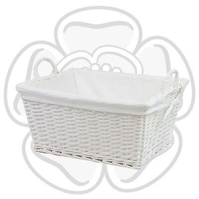 JVL White Willow Wicker Rectangular Linen Washing Laundry Basket Handles