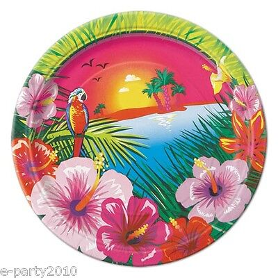 HAWAIIAN LUAU SUNSET SMALL PAPER PLATES (8) ~Birthday Party Supplies Cake - Beach Birthday Party Supplies