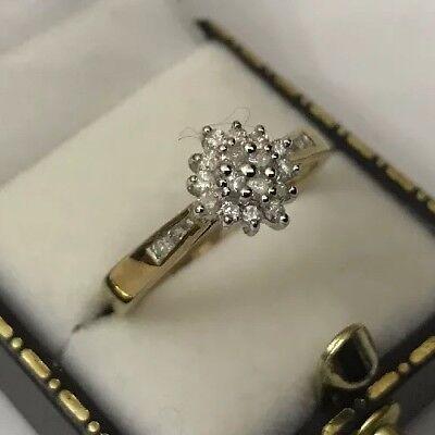 HM Hallmarked 9ct 9k Gold Ladies Women's Diamond Square Cluster Ring Size R