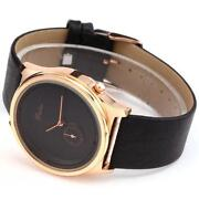Womens Black Leather Watch