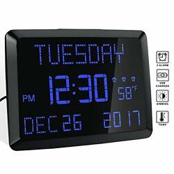 Day Clock, 11.5 Extra Large Display LED Digital Desk & Wall Calendar Alarm Day