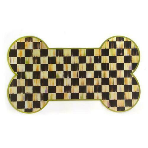 MacKenzie Childs Courtly Check Bone Shaped Pup Placemat Dog Puppy Pet Food Mat - $27.99