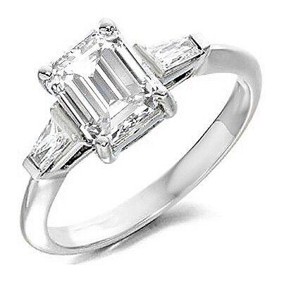 1.24 Ct Three Stone Emerald & Baguette Cut Diamond Engagement Ring I,VS2 GIA 1