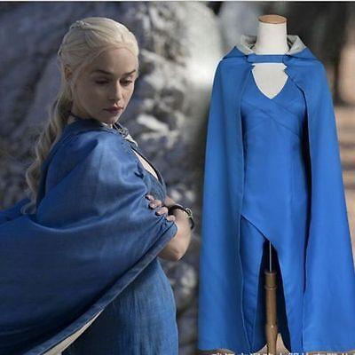 Us Ship Daenerys Targaryen Linen Blue Dress Cosplay Costume Game Of Thrones