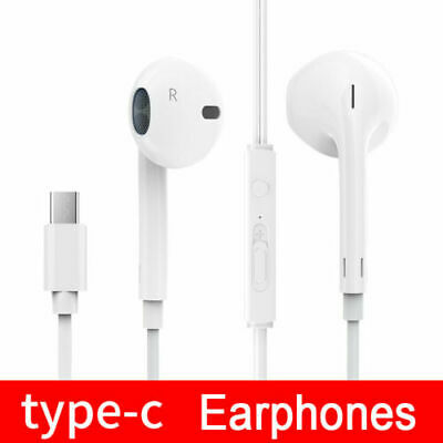 USB Type-C Flat Earphones Handsfree Headphones For HTC U11 Life Eyes U11+ White