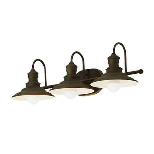 Bathroom Vanity 3 Light Fixture Aged Bronze Cone Wall Lighti