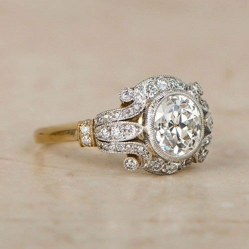 1.25Ct Vintage Moissanite Circa Antique Art Deco Ring 9Ct Real Two Tone Gold