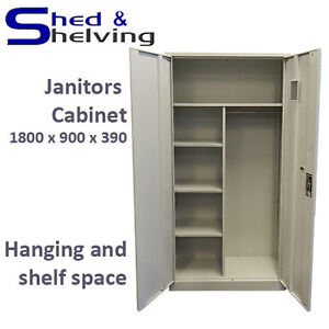 Grey Metal Janitor Cabinet Locker Stationery Cupboard Home Office Garage Storage