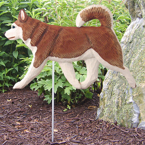 Alaskan Malamute Outdoor Garden Sign Hand Painted Figure Red/White