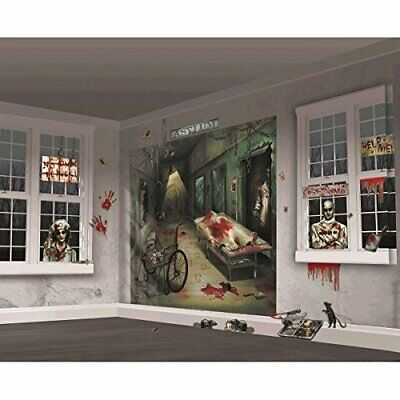Asylum Halloween Party (ASYLUM Halloween Party Decorations Insane House Wall Scene Setter Signs Decor)