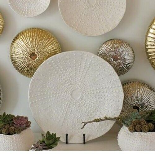 """Global Views Ceramic Urchin Platter Charger Plate Matte White 16"""" MSRP $ 322"""
