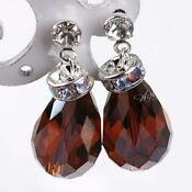 Brown Crystal Stud Earrings