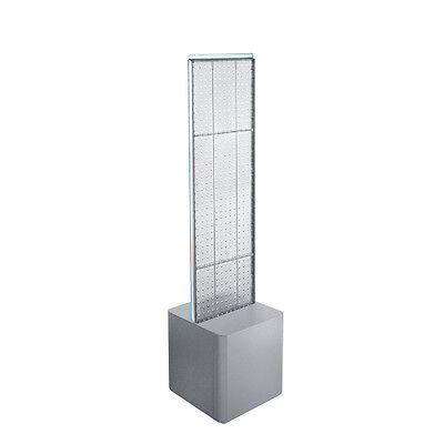 2-sided Pegboard Floor Display In Clear 13.5w X 44h Inches With Studio Base
