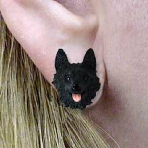 CLEARANCE Post Style SCHIPPERKE Resin Dog Head Post Earrings Jewelry