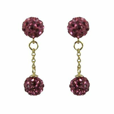 Sterling Silver Gold Plated Hot Pink Crystal Disco Balls Dangle Drop Earrings ()