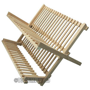FOLDING WOODEN KITCHEN SINK DISH DRAINER FOLDABLE WOOD PLATE & CUP DRYING RACK