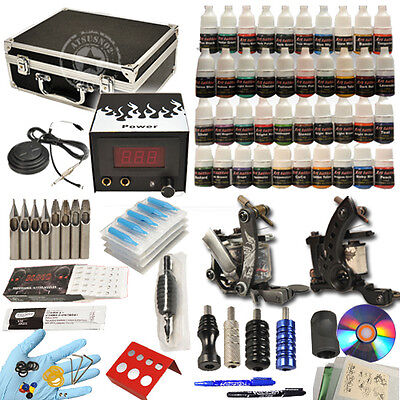 Tattoo Kit Top 2 Machine Gun Power Supply 40 ink 50 Needles Ink Set UTA-016 on Rummage