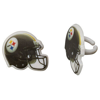 12 Pittsburgh Steelers NFL Football Cupcake Rings Toppers Decoration Party Favor - Steelers Party Favors