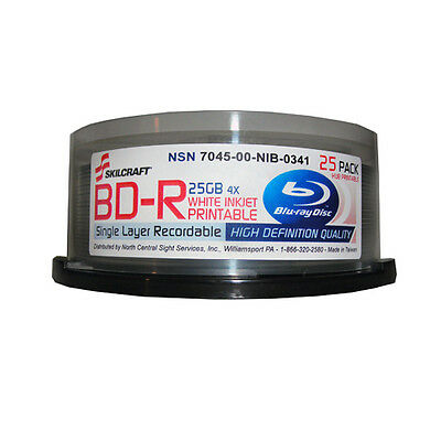Blu-ray Single Layer White Inkjet Printable 25GB 4x 25 Pack Spindle