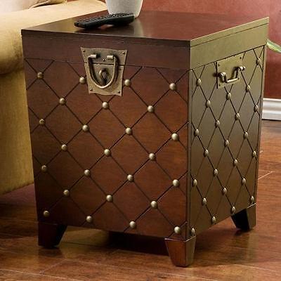 Nailhead Espresso End Table Trunk Coffee Modern Furniture Sofa Tables Century